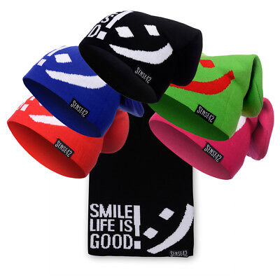 Sense42 Long Beanie SMILE LIFE IS GOOD! Unisex Lange Winter Mütze Strickmütze
