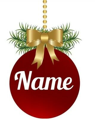 Personalised Christmas Bauble Sticker, Personalised Name Bauble, 1, 5/10 names