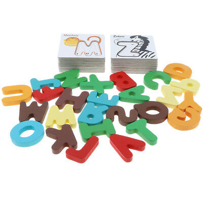 Kids Wooden Letters ABC Alphabet Animal Card Puzzle Preschool Learning Toy