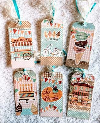 Set of 6 Hang Tags~Cottage Chic Summer Ice Cream~Gift Tags~Scrapbooks~Cards~#21R