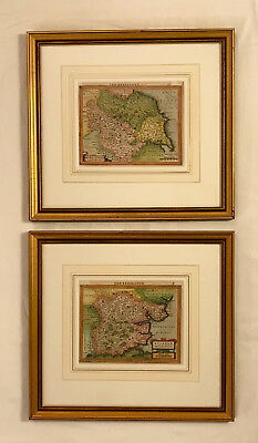 Pair 17th Century Copper Engraving England Maps Gerhard Mercator