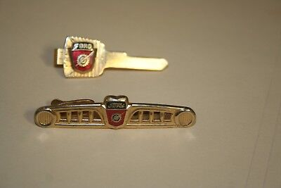 2 Vintage Ford Motor Co Tie clasps clips Hickok USA automotive men's jewelry