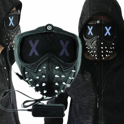 WATCH DOGS 2 Wrench LED Mask Gothic Rivet Half Cosplay Masks