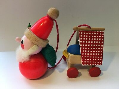 VTG 2 GERMAN STEINBACH Wooden Christmas Ornaments Santa Claus & Baby Germany