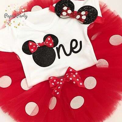 Black & Red Minnie Mouse Theme Cake Smash/1st Birthday Outfit