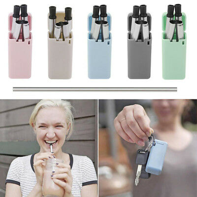 Portable Folding Drinking Metal Straw  Stainless Steel Reusable For Outdoor Bar
