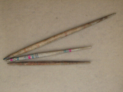 Antique Primitive Wooden Wood Spindles Lot Authentic Spinning Yarn 19th