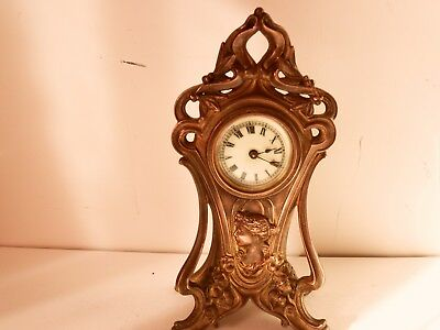 Antique  Art Nouveau  American  Silvered And Gilt Metal  8 Day Clock   Working