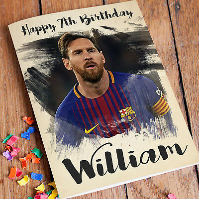 Lionel Messi Personalised Greeting Birthday Card Barcelona Suarez CA071