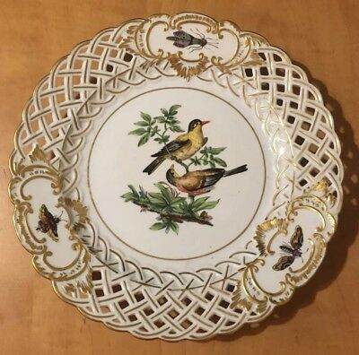 Early 19th Century Meissen Reticulated Plate Hand Painted Birds & Insects