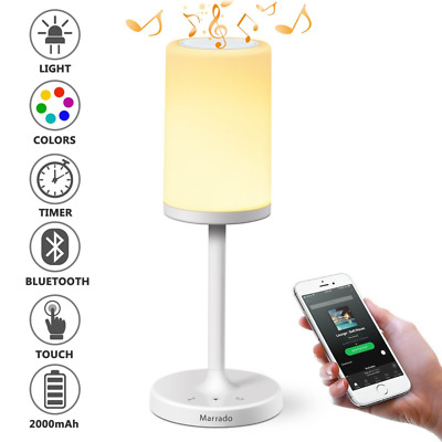 Bluetooth Speakers + Bedside Lamp, Night Light, Smart Touch Control Table