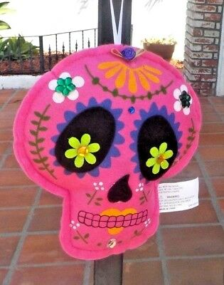 Day Of The Dead Pink Felt Sugar Skull Ornament Mexico With Free Shipping