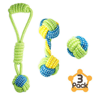 Petagon Dog Toys for Small Dogs/Puppy (3 Pack) Interactive Ball Tug Handle
