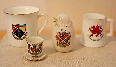 4 Pieces Welsh Crested Ware / Tourist China - Abergavenny, Llangollen + 2 others