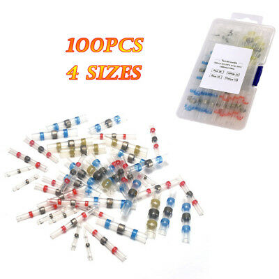 100Pcs Auto Copper Solder Seal Heat Shrink Butt Wire Connector Terminals And Box