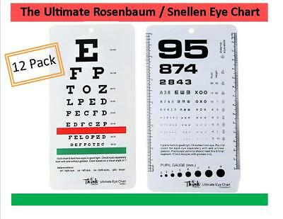 Lot of 12 *Medical Snellen Pocket Eye Exam Chart* Great for Opthamologists BWT!