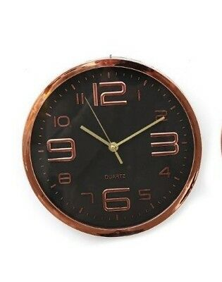 Large Display Quartz Wall Clock - Copper 25 cm Battery Kitchen Modern Numbers