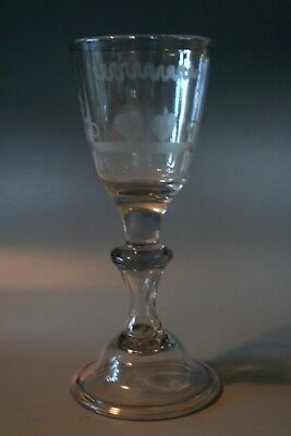 18Th Century Glass With Domed Foot , Hollow Stem , And Engraved Bowl