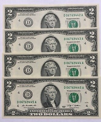 2009 $2 CLEVELAND Federal Reserve Notes, 4 CONSECUTIVE & UNCIRCULATED BANKNOTES