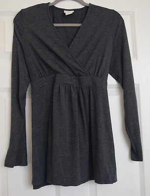 """""""Oh Baby"""" by Motherhood Gray Long Sleeve Maternity Top Size Large"""