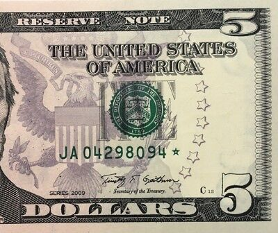 2009 $5 BOSTON * STAR * 🌟 Federal Reserve Note, NEW & UNCIRCULATED BANKNOTE