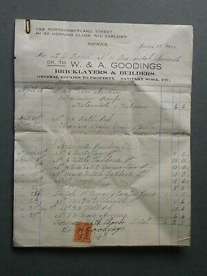 1942 Long Invoice W & A Goodings Builder Norwich & Earlham To Mr A J Rout