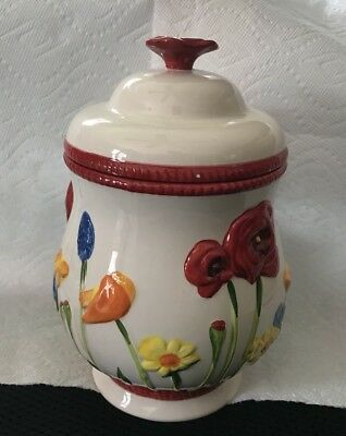BISCOTTI Cookie Jar Canister Hand Painted By Nonni's