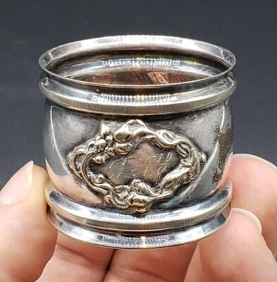 Antique Art Nouveau Silver Plated Napkin Ring With Monogram