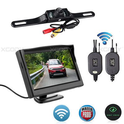 "5"" Rear View Monitor + Wireless 7 IR Backup Camera 120°For Truck Auto Set"