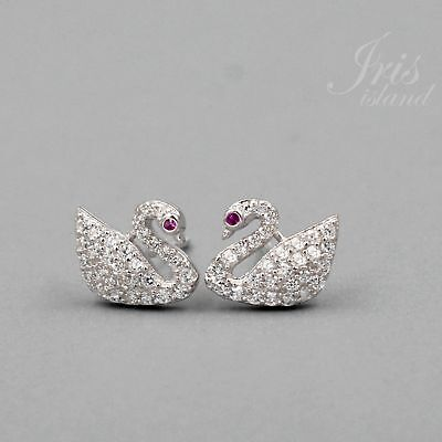 Cubic Zirconia CZ Swan 925 Sterling Silver Stud Earrings With Micro Pave 02951