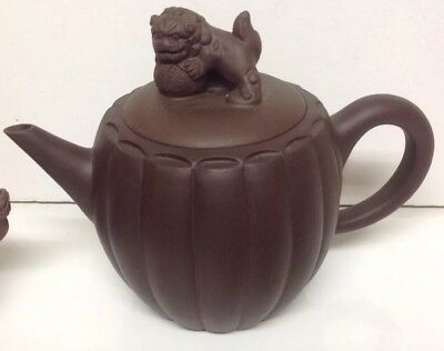 "Vintage Chinese Brown Clay 6"" Teapot w/ Foo Dog Lid- Marked & Unused- 👌"
