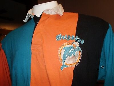 brand new f11d9 1eca3 VINTAGE MIAMI DOLPHINS Throwback Mirage Rugby Shirt Xl