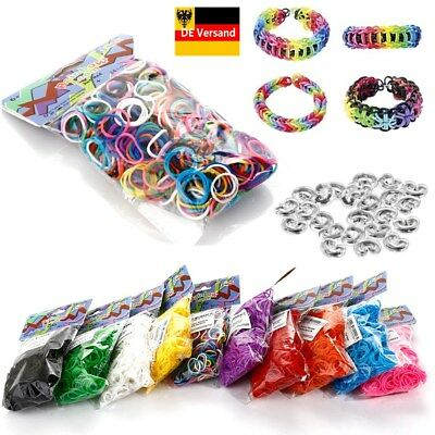600er Rainbow DIY Loom Bands Set Gummibänder Rubber Loops für Kinder mit 24 Clip
