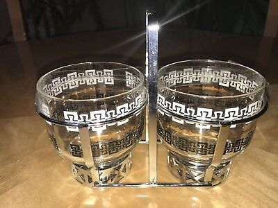 Vintage set of 2 Mid-Century Lowball Rocks Glasses In Metal Carrier Nice Rare
