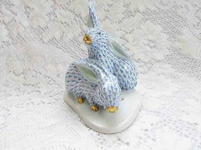 Herend double rabbit blue fishnet animal figurine decorative collectible