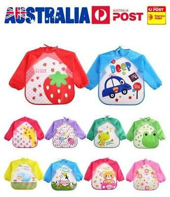 Kids Long Sleeve Baby Bibs Bib Apron Waterproof Art Smock Feeding Toddler AU