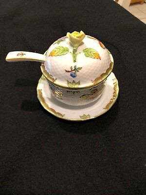 Vintage Herend Queen Victoria 1377/VBO Jam/Jelly Pot w/Spoon