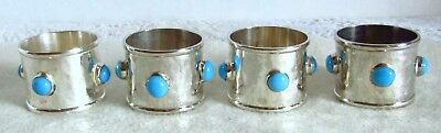 Gorgeous Set of 4 Silver Plate Turquoise Stone Napkin Rings