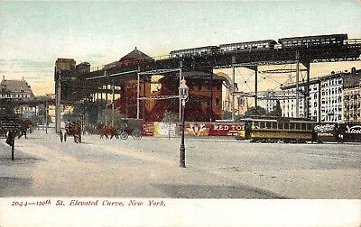 C07-5669, 110Th St. Elevated Cure, New York, Ny. 1900S Postcard,