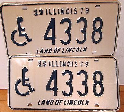 1979 Illinois Land of Lincoln license plate tag handicap disable wheelchair PAIR