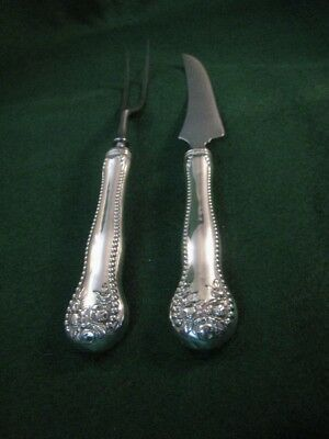 Antique Gorham sterling knife and fork Chef lion anchor and G kitchen cutting