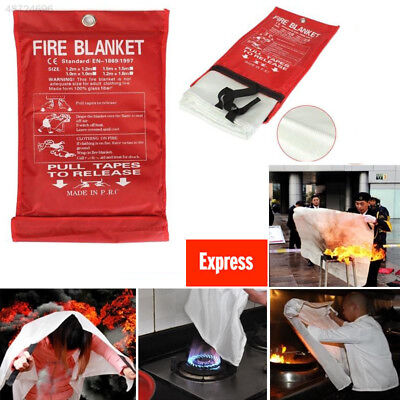 QUICK RELEASE HOME&OFFICE SAFETY PROTECTOR LARGE FIRE BLANKET IN CASE 1M x