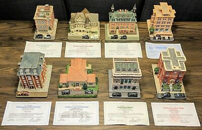 8 Danbury Mint Classic American Police Stations Sculptures w/ Cert. of Ownership