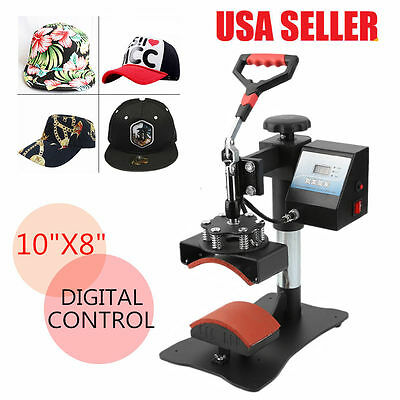 """Digital Transfer Sublimation Hat Cap Clamshell Heat Press Machine 10x8"""" Curved G"""
