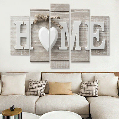 Cn_ 5 Panels Love Home Wall Pictures Canvas Painting Decoration Unframed Gift