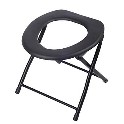 Folding Commode Chair Portable Toilet Seat, 198 Pounds Capacity PTS01 Steel & PP