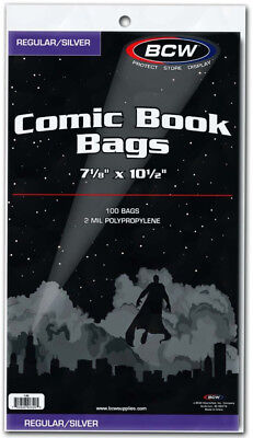 """Bcw Comic Book Bags Regular And Silver Age Comics (7"""" 1/8 X 10"""" 1/ . - BRAND NEW"""