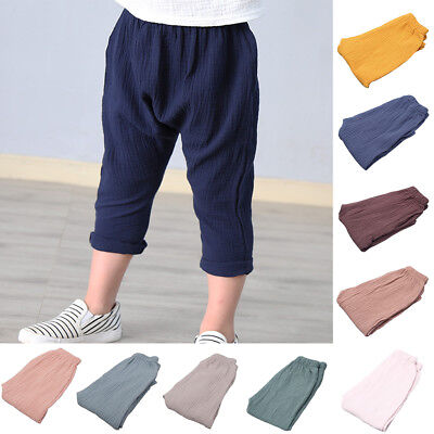 Cn_ Baby Boy Girl Toddler Clothes Cotton Leisure Trousers Plain Harem 0-6 Year