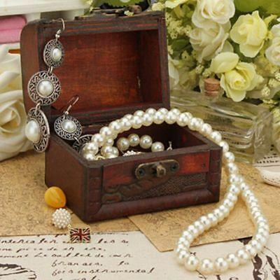 Small Antique Gift Wooden Vintage Pearl Storage Wooden Box Jewelry Case Box