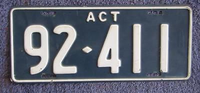 1960's ACT PASSENGER LICENSE/NUMBER PLATE # 92-411